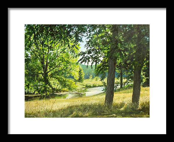 Landscape Framed Print featuring the painting Summer Stream by William Brody