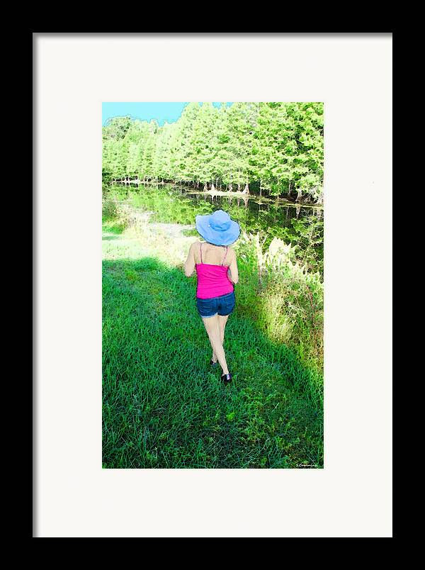 Sun Hat Framed Print featuring the painting Summer Stroll In The Park - Art By Sharon Cummings by Sharon Cummings