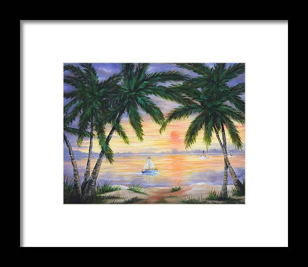 Seascape Framed Print featuring the painting Summer Sunset by Ruth Bares