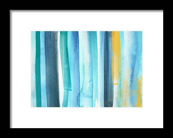 Water Framed Print featuring the painting Summer Surf- Abstract Painting by Linda Woods