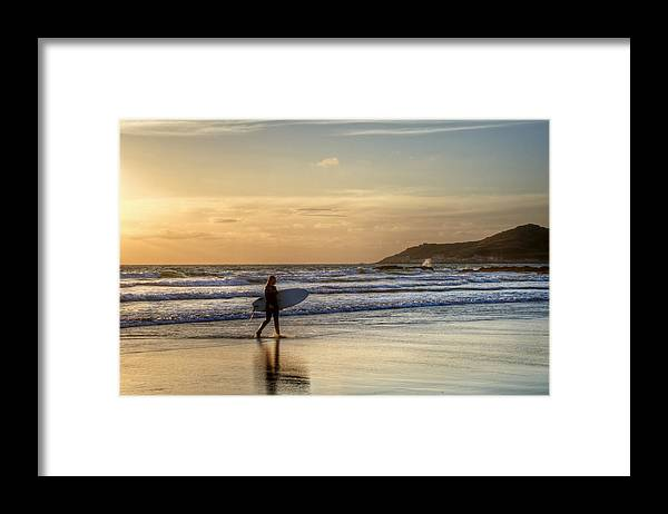 Silhouette Framed Print featuring the photograph Summer Surfer by Matthew Gibson