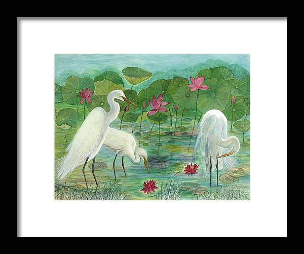 Lily Pads; Egrets; Low Country Framed Print featuring the painting Summer Trilogy by Ben Kiger
