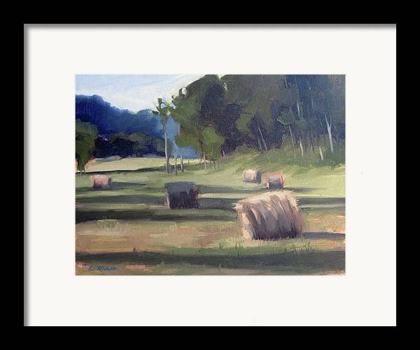 Haystacks Framed Print featuring the painting Summer's Shade by Erin Rickelton