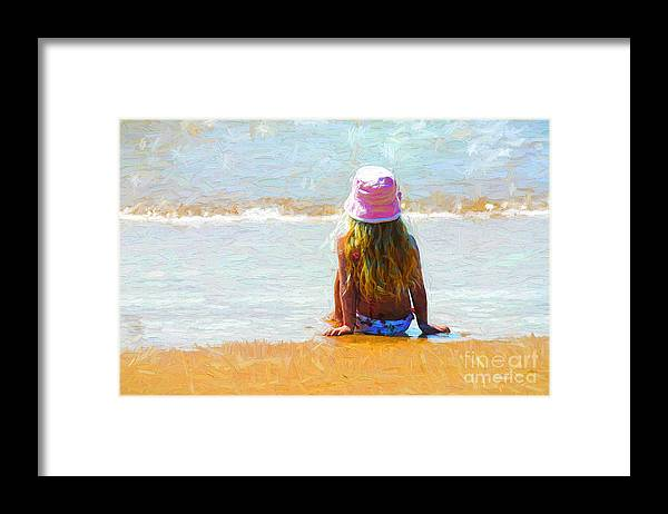 Little Girl On Beach Framed Print featuring the photograph Summertime by Sheila Smart Fine Art Photography