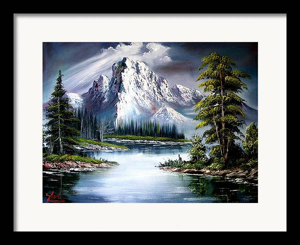 Wet On Wet Oil Painting ;happy Trees Print;bob Ross ;original Oil Painting Print;snow Print;nature Landscape Print;mountain Print;village Print;snow Print;sky Print;canvas Print;acrylic Print;greeting Card Print;framed Print;blue;white;brown;clay; Mud..... � Framed Print featuring the painting Sun After Rain by Shirwan Ahmed