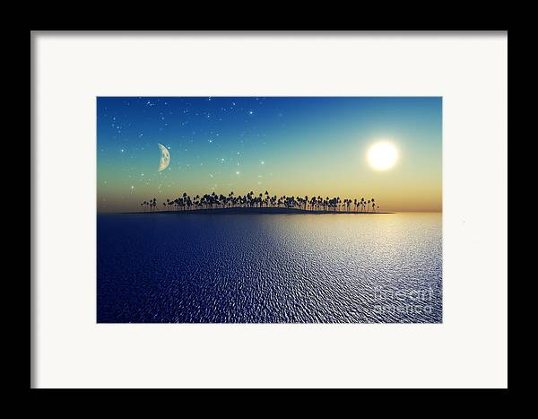 Islands Framed Print featuring the digital art Sun And Moon by Aleksey Tugolukov