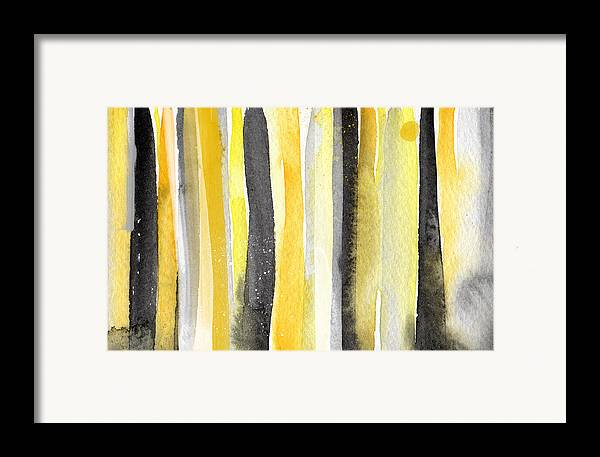 Abstract Yellow And Grey Painting Framed Print featuring the painting Sun And Shadows- Abstract Painting by Linda Woods