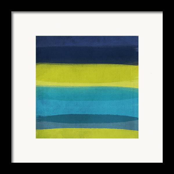 Abstract Framed Print featuring the painting Sun And Surf by Linda Woods