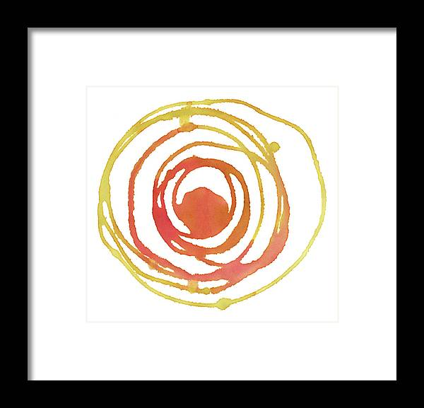 Watercolor Painting Framed Print featuring the digital art Sun Circle Abstract Water Color Paint by 4khz