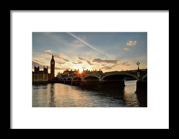 Big Ben Framed Print featuring the photograph Sun Down London by Tony Brooks