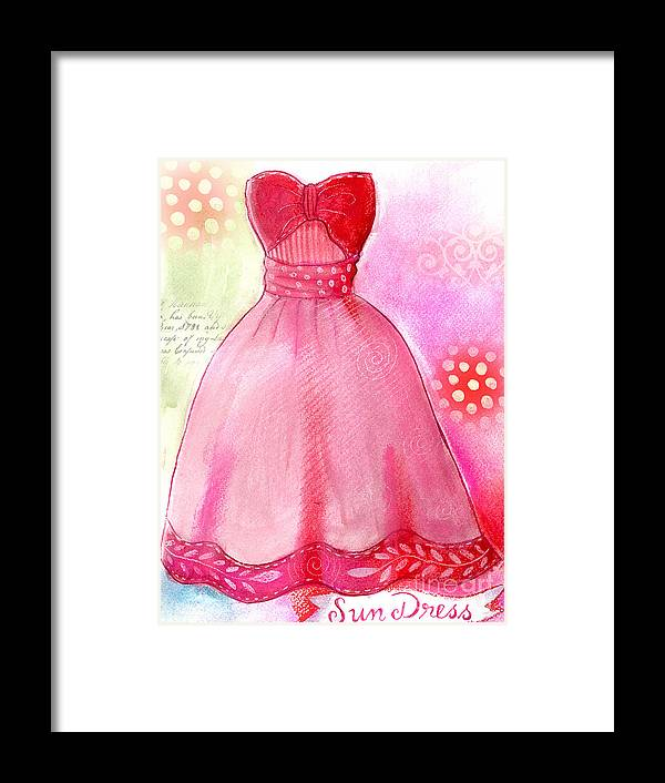 Dress Framed Print featuring the mixed media Sun Dress by Elaine Jackson