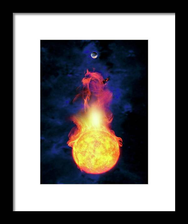 Solar System Framed Print featuring the digital art Sun Engulfing The Earth, Artwork by Victor Habbick Visions