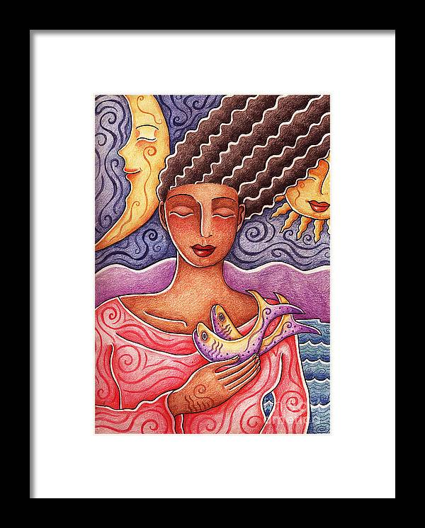 Woman Framed Print featuring the drawing Sun Fish Moon by Elaine Jackson