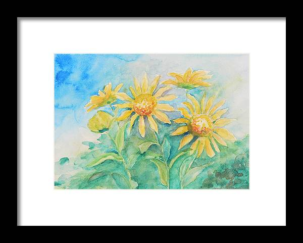 Framed Print featuring the painting Sun Flowers by Mary Levingston