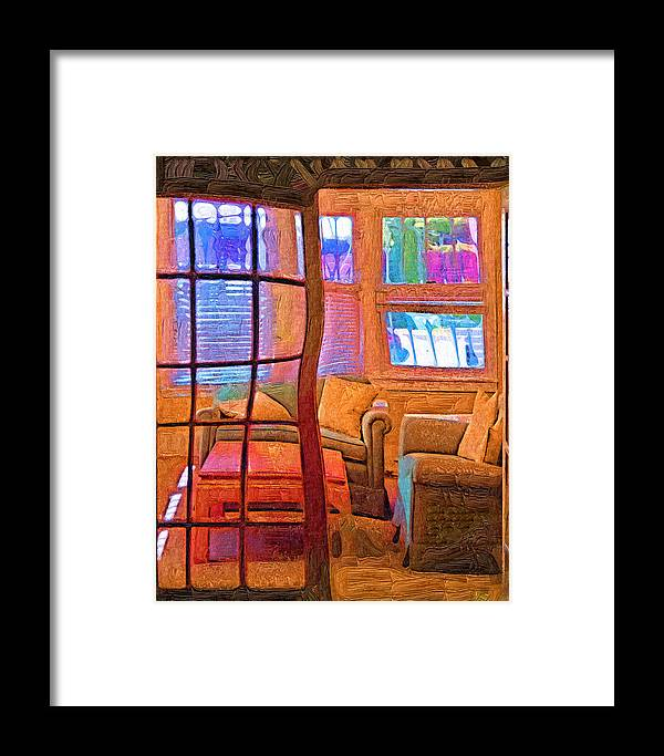 Abstract Framed Print featuring the painting Sun Porch by Kirt Tisdale