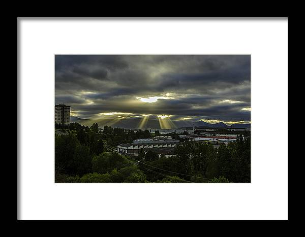 Sun Framed Print featuring the photograph Sun Rays Over The City by Tilyo Rusev