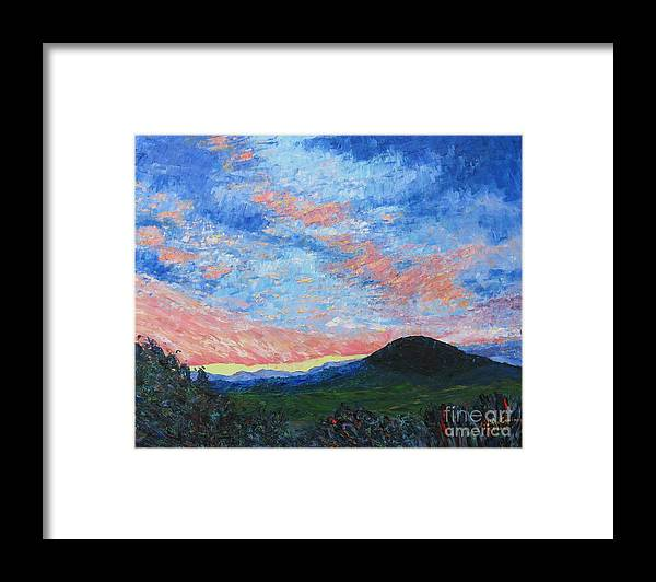 Landscape Framed Print featuring the painting Sun Setting Over Mole Hill - SOLD by Judith Espinoza