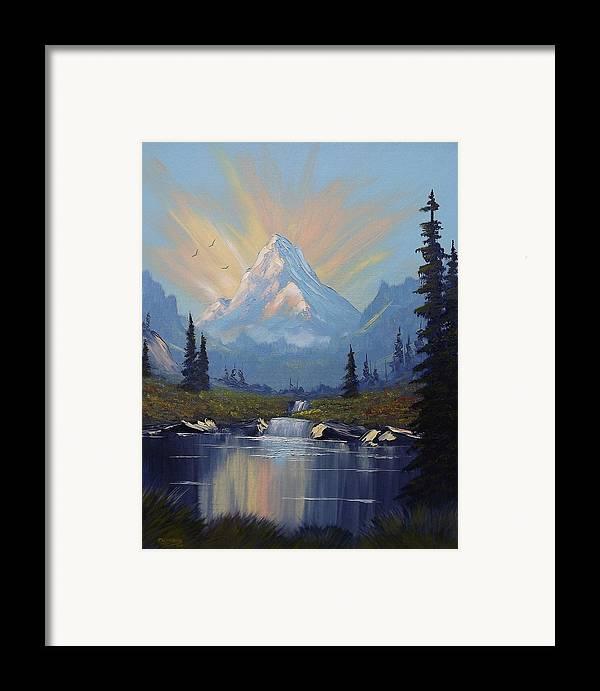 Mountain Framed Print featuring the painting Sunburst Landscape by Richard Faulkner