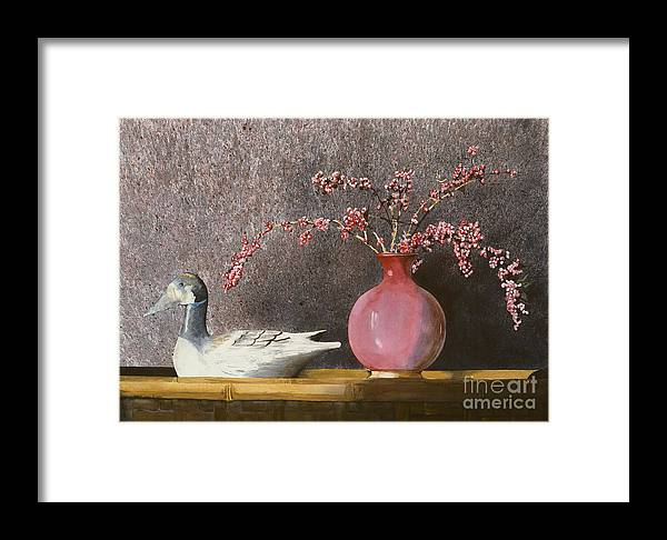 A Wood Carved Duck Rest On A Wicker Coffee Table Near A Hand-thrown Pot Filled With Buck Brush In The Sunlight Of A Sunday Afternoon. Framed Print featuring the painting Sunday Afternoon by Monte Toon