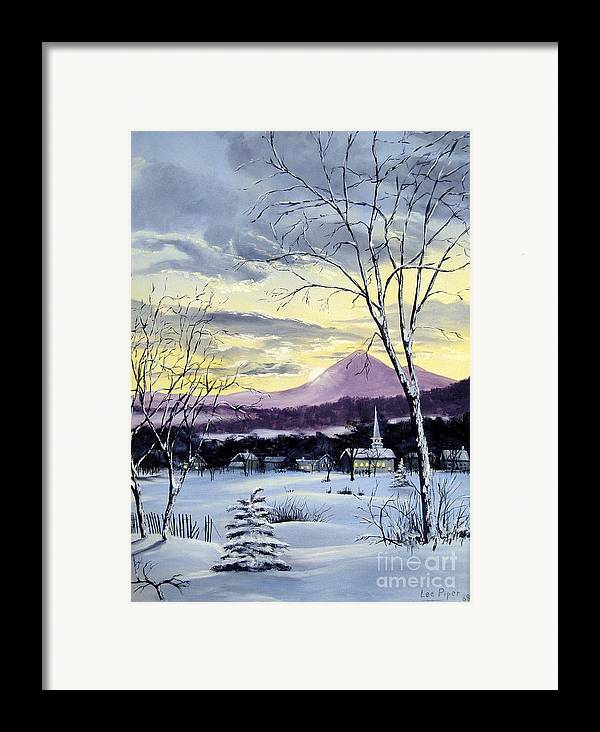 Maine Framed Print featuring the painting Sunday In Winter by Lee Piper