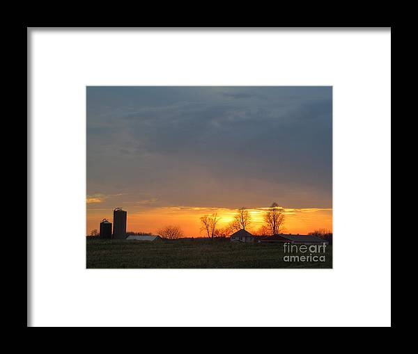 Sun Framed Print featuring the photograph Sunday Late Fall Sunset by Tina M Wenger