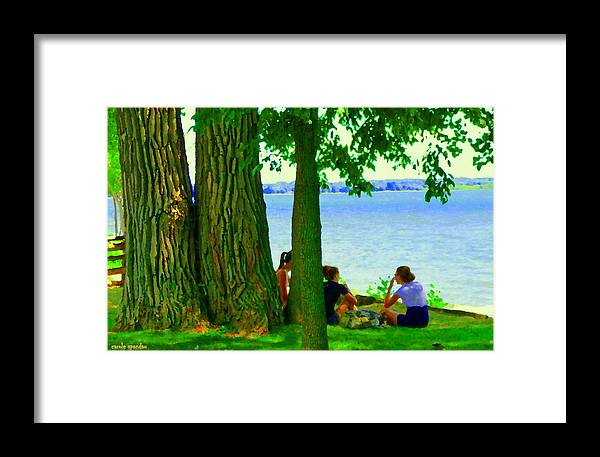 Montreal Framed Print featuring the painting Sunday Picnic On The Lake Maple Trees At The Canal Pte Claire Montreal Waterscene Carole Spandau by Carole Spandau