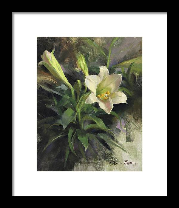 Easter Framed Print featuring the painting Sunday's Lily by Anna Rose Bain