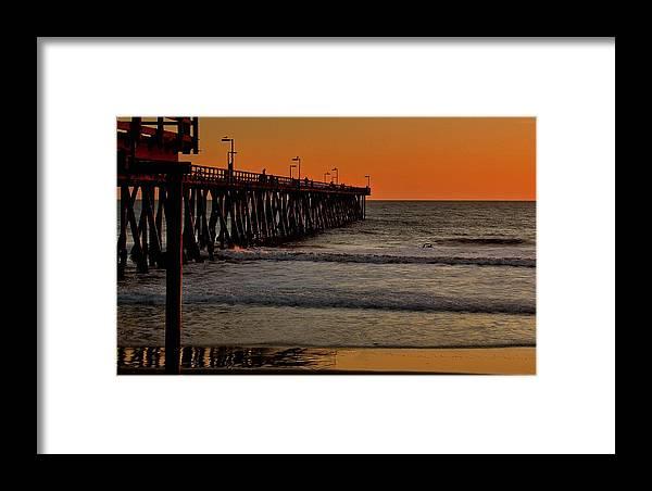 Port Hueneme Framed Print featuring the photograph Sundown Surfing by Michael Gordon