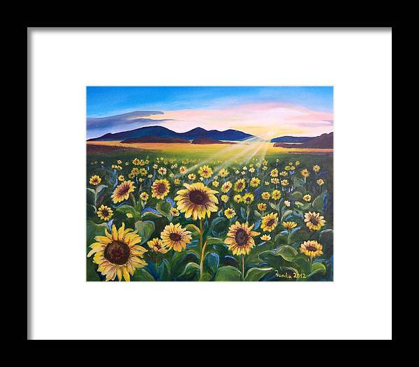 Sunflowers Sun Mountains Field Framed Print featuring the painting Sunflower Field by Vanda Bleavins