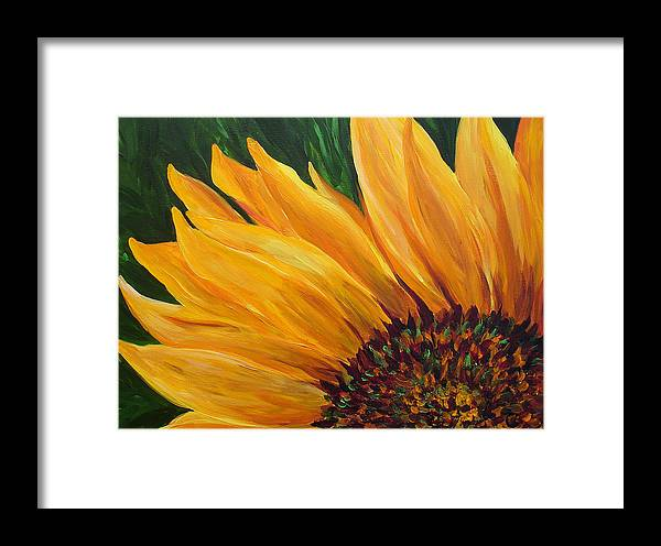 Flowers Framed Print featuring the painting Sunflower From Summer by Mary Jo Zorad