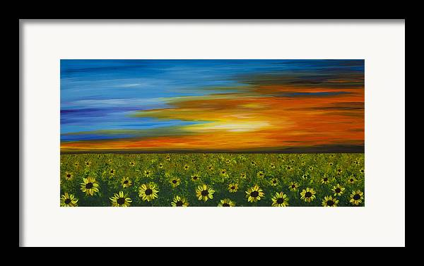 Sunflower Framed Print featuring the painting Sunflower Sunset - Flower Art By Sharon Cummings by Sharon Cummings