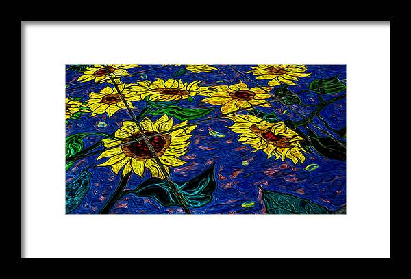 Sunflower Framed Print featuring the photograph Sunflower Tiled Oil Painting by Michael Moriarty