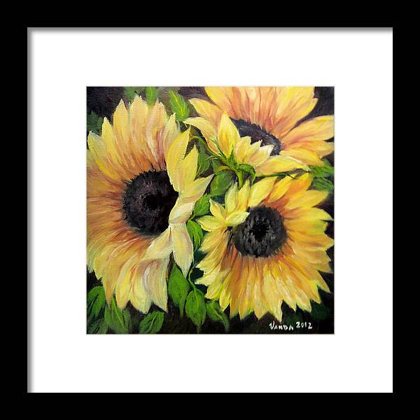 Closeup Framed Print featuring the painting Sunflowers 3 by Vanda Bleavins