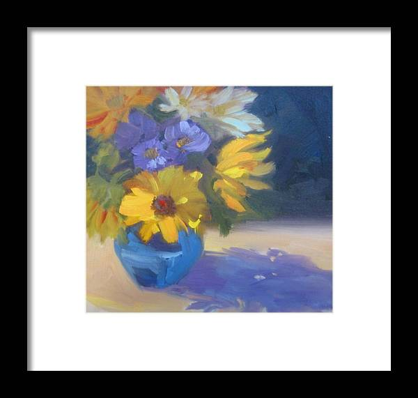 Sunflowers Framed Print featuring the painting Sunflowers And Daisies by Suzanne Elliott