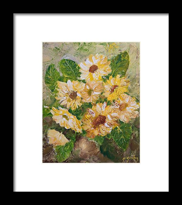 Sunflowers Framed Print featuring the painting Sunflowers Forever by Jo Smoley