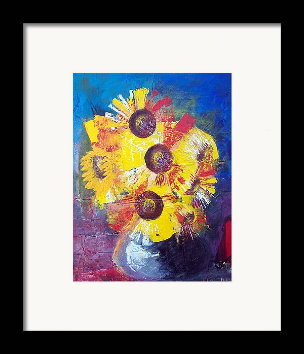 Flowers Framed Print featuring the painting Sunflowers In Blue Vase by Valerie Wolf