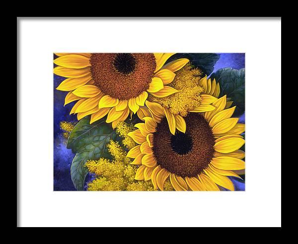 Botanical Framed Print featuring the painting Sunflowers by Mia Tavonatti