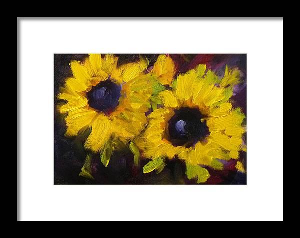 Nancy Merkle Framed Print featuring the painting Sunflowers by Nancy Merkle