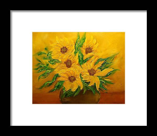 Flowers Framed Print featuring the painting Sunflowers by Svetla Dimitrova