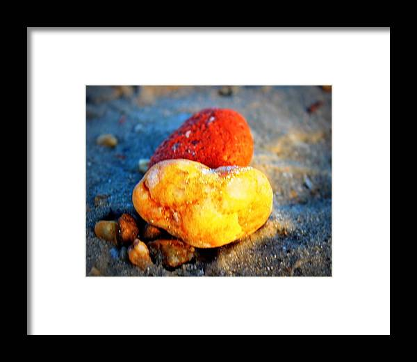 Beach Love Framed Print featuring the photograph Sunkissed Heart by Katherine Kearney