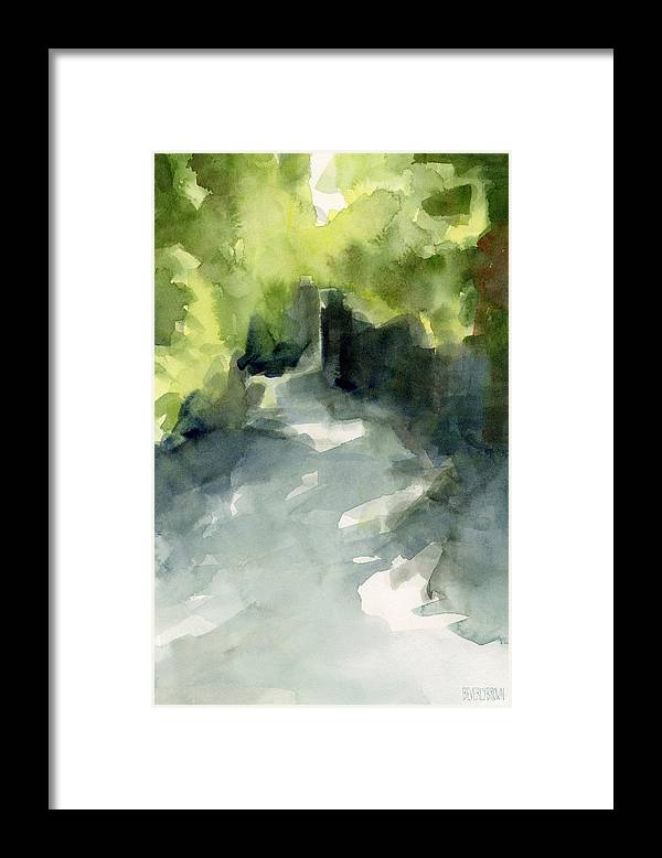 Garden Framed Print featuring the painting Sunlight and Foliage Conservatory Garden Central Park Watercolor Painting by Beverly Brown