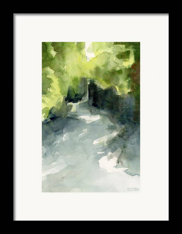 Conservatory Garden Framed Print featuring the painting Sunlight And Foliage Conservatory Garden Central Park Watercolor Painting by Beverly Brown Prints