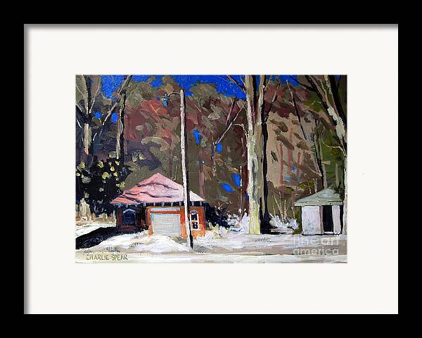 Golf Course Framed Print featuring the painting Sunlight On The Golf Sheds Series No.6 by Charlie Spear