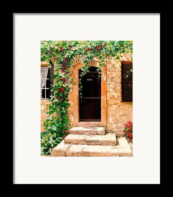 French Door Framed Print featuring the painting Sunlight Vines - Oil by Michael Swanson