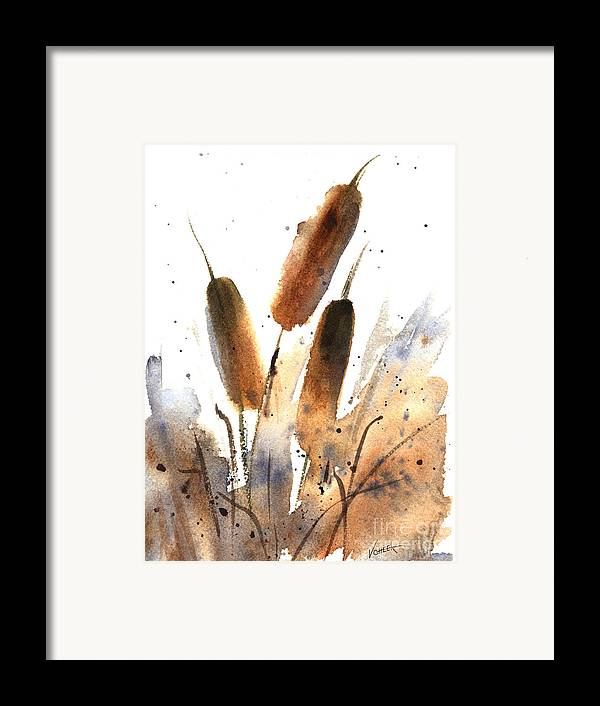 Art Framed Print featuring the painting Sunlit Cattails by Vickie Sue Cheek