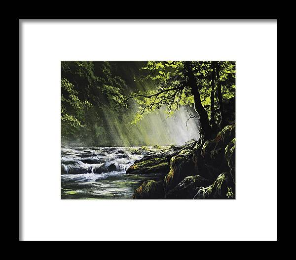 Waterfall Framed Print featuring the painting Sunlit Dream by Marco Antonio Aguilar