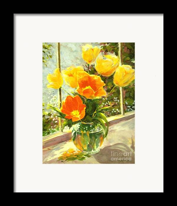 Canvas Prints Framed Print featuring the painting Sunlit Tulips by Madeleine Holzberg