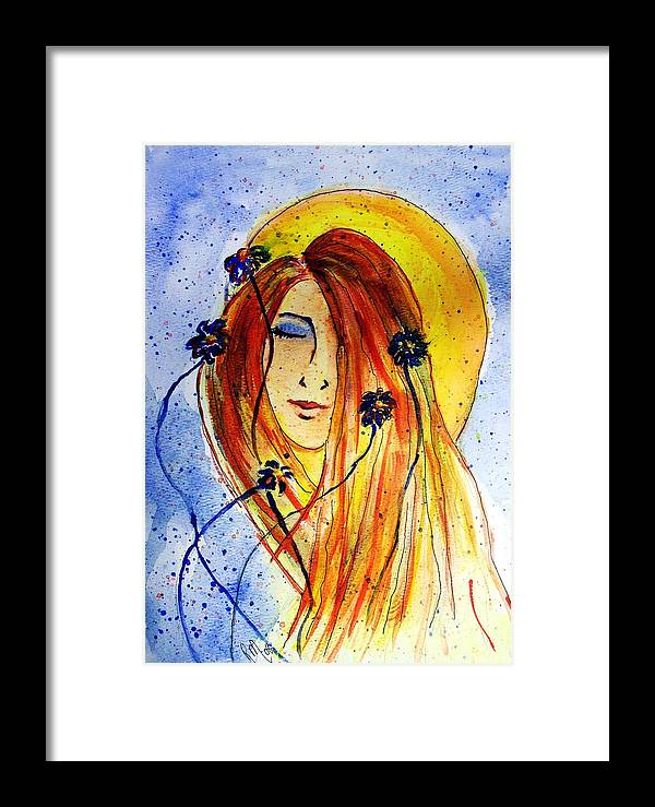 Face Framed Print featuring the painting Sunny Disposition by Robin Monroe