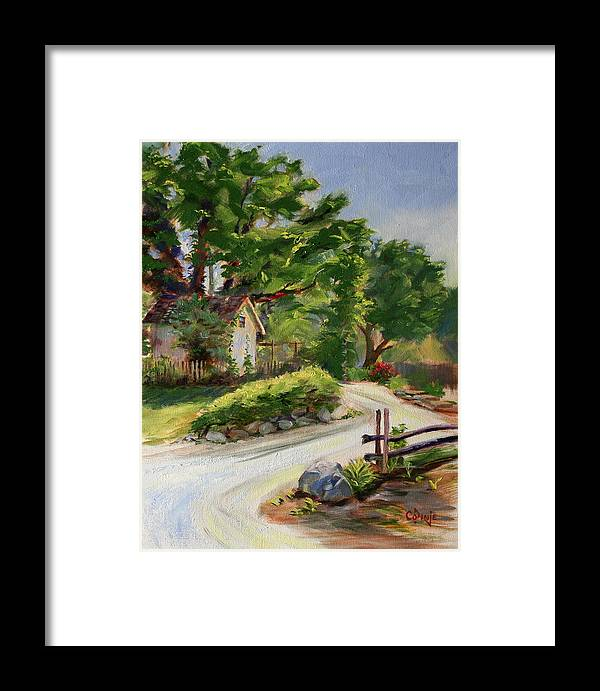 Stonycreek Framed Print featuring the painting Sunny Lane At Stonycreek Farm For Prints And Greeting Cards And Iphone Covers by Connie Nobbe