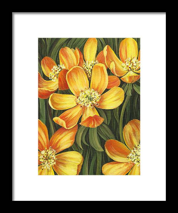 Buttercups Framed Print featuring the painting Sunny Side by Natasha Denger